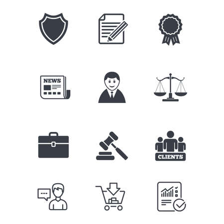 Illustration pour Lawyer, scales of justice icons. Clients, auction hammer and law judge symbols. Newspaper, award and agreement document signs. Customer service, Shopping cart and Report line signs. Vector - image libre de droit