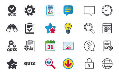 Illustration pour Quiz icons. Checklist with check mark symbol. Survey poll or questionnaire feedback form sign. Chat, Report and Calendar signs. Stars, Statistics and Download icons. Question, Clock and Globe. Vector - image libre de droit