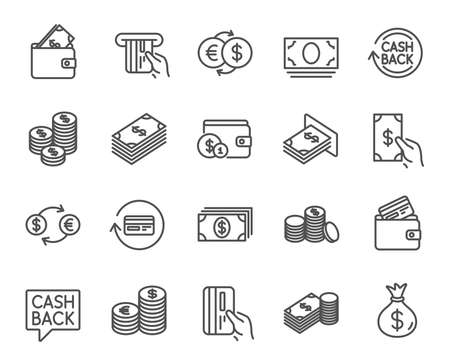 Illustration pour Money line icons. Set of Banking, Wallet and Coins signs. Credit card, Currency exchange and Cashback service. Euro and Dollar symbols. Quality design elements. Editable stroke. Vector - image libre de droit