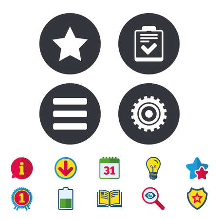 Illustration pour Star favorite and menu list icons. Checklist and cogwheel gear sign symbols. Calendar, Information and Download signs. Stars, Award and Book icons. Light bulb, Shield and Search. Vector - image libre de droit