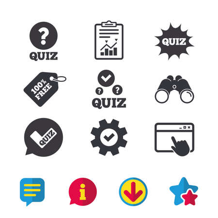 Illustration pour Quiz icons. Speech bubble with check mark symbol. Explosion boom sign. Browser window, Report and Service signs. Binoculars, Information and Download icons. Stars and Chat. Vector - image libre de droit