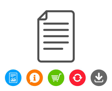 Illustration pour Document Management line icon. Information File sign. Paper page concept symbol. Report, Information and Refresh line signs. Shopping cart and Download icons. Editable stroke. Vector - image libre de droit