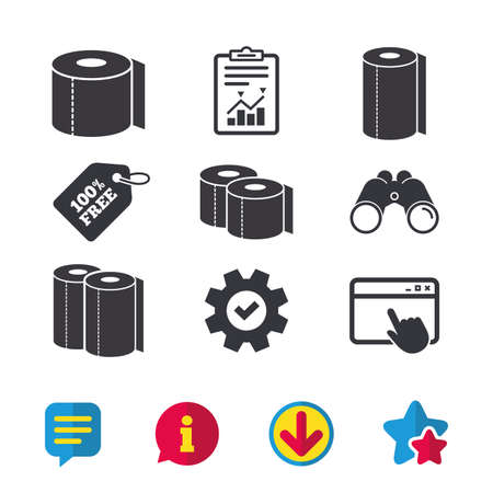 Illustration pour Toilet paper icons. Kitchen roll towel symbols. WC paper signs. Browser window, Report and Service signs. Binoculars, Information and Download icons. Stars and Chat. Vector - image libre de droit