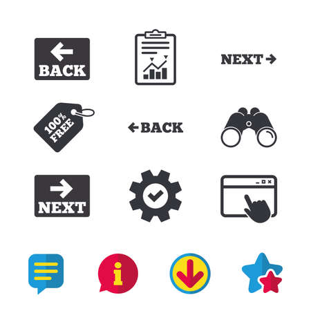 Illustration pour Back and next navigation signs. Arrow direction icons. Browser window, Report and Service signs. Binoculars, Information and Download icons. Stars and Chat. Vector - image libre de droit