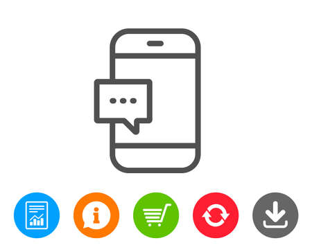 Ilustración de Smartphone Message icon. Cellphone or Phone messenger sign. ?ommunication Mobile device with Chat symbol. Report, Information and Refresh line signs. Shopping cart and Download icons. Editable stroke - Imagen libre de derechos