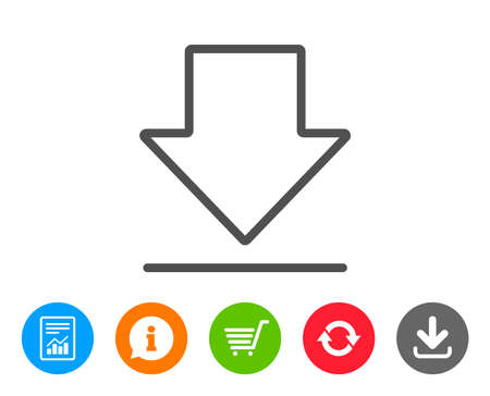 Illustration pour Download line icon. Internet Downloading sign. Load file symbol. Report, Information and Refresh line signs. Shopping cart and Download icons. Editable stroke. Vector - image libre de droit