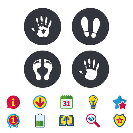Ilustración de Hand and foot print icons. Imprint shoes and barefoot symbols. Stop do not enter sign. Calendar, Information and Download signs. Stars, Award and Book icons. Light bulb, Shield and Search. Vector - Imagen libre de derechos