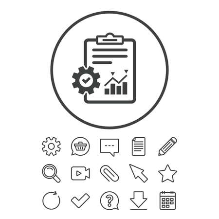 Illustration for Project management icon. Report document with cogwheel symbol. File with charts symbol. Document, Chat and Paper clip line signs. Question, Pencil and Calendar line icons. Vector - Royalty Free Image