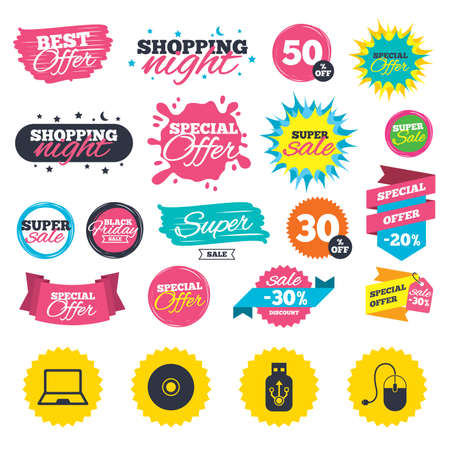 Illustration for Sale shopping banners. Notebook pc and Usb flash drive stick icons. Computer mouse and CD or DVD sign symbols. Web badges, splash and stickers. Best offer. Vector - Royalty Free Image