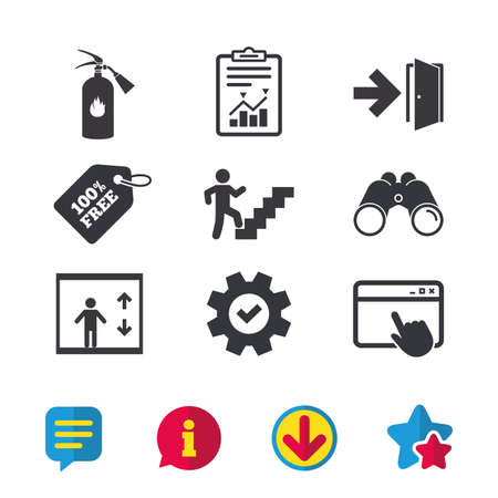 Illustration for Emergency exit icons. Fire extinguisher sign. Elevator or lift symbol. Fire exit through the stairwell. Browser window, Report and Service signs. Binoculars, Information and Download icons. Vector - Royalty Free Image