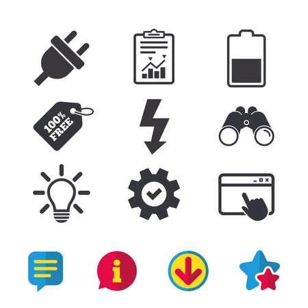 Illustration pour Electric plug icon. Light lamp and battery half symbols. Low electricity and idea signs. Browser window, Report and Service signs. Binoculars, Information and Download icons. Stars and Chat. Vector - image libre de droit