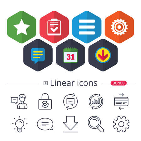Illustration pour Calendar, Speech bubble and Download signs. Star favorite and menu list icons. Checklist and cogwheel gear sign symbols. Chat, Report graph line icons. More linear signs. Editable stroke. - image libre de droit