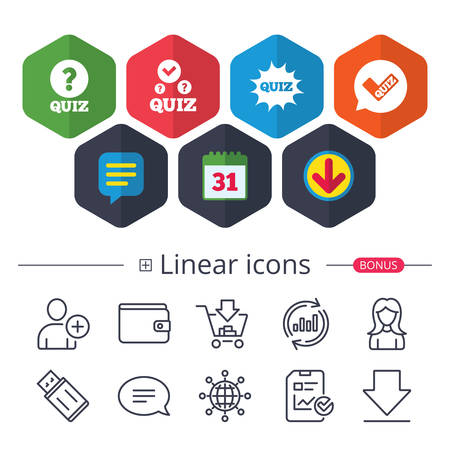 Illustration pour Calendar, Speech bubble and Download signs. Quiz icons. Speech bubble with check mark symbol. Explosion boom sign. Chat, Report graph line icons. More linear signs. Editable stroke. Vector - image libre de droit