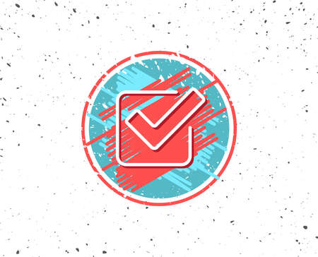 Illustration pour Grunge circular shaped with symbol of Check line icon, Approved Tick sign, Confirm, Done or Accept symbol in Random background. - image libre de droit