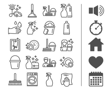 Ilustración de Cleaning line icons. Laundry, Sponge and Vacuum cleaner signs. Washing machine, Housekeeping service and Maid equipment symbols. Window cleaning and Wipe off. Bonus classic signs. Editable stroke - Imagen libre de derechos