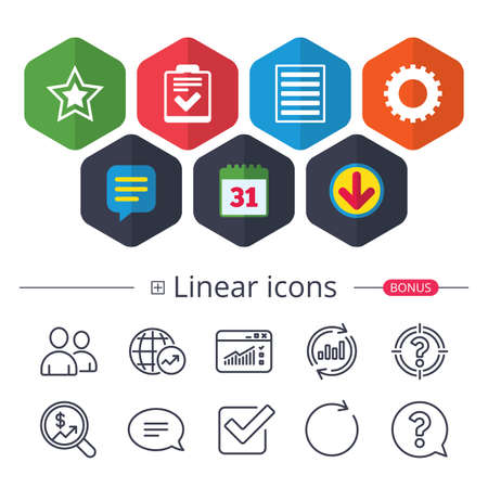 Illustration pour Calendar, Speech bubble and Download signs. Star favorite and menu list icons. Checklist and cogwheel gear sign symbols. Chat, Report graph line icons. More linear signs. Editable stroke. Vector - image libre de droit