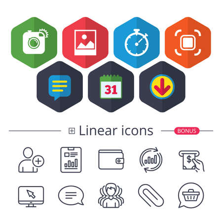 Illustration pour Set of media linear icons. - image libre de droit