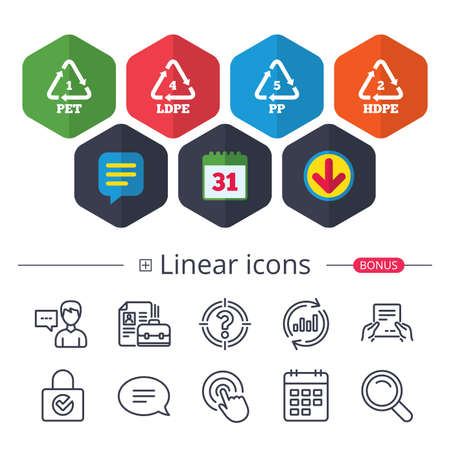 Illustration pour Calendar, Speech bubble and Download signs. PET 1, Ld-pe 4, PP 5 and Hd-pe 2 icons. High-density Polyethylene terephthalate sign. Recycling symbol. Chat, Report graph line icons. More linear signs - image libre de droit