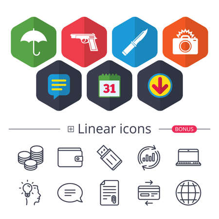 Illustration pour Calendar, Speech bubble and Download signs. Gun weapon icon.Knife, umbrella and photo camera with flash signs. Edged hunting equipment. Prohibition objects. Chat, Report graph line icons. Vector - image libre de droit
