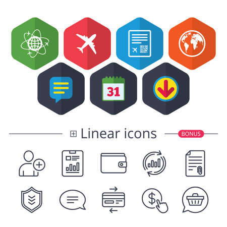 Illustration pour Calendar, Speech bubble and Download signs. Airplane icons. World globe symbol. Boarding pass flight sign. Airport ticket with QR code. Chat, Report graph line icons. More linear signs. Vector - image libre de droit