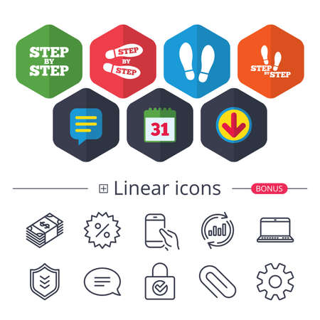 Illustration pour Calendar, Speech bubble and Download signs. Step by step icons. Footprint shoes symbols. Instruction guide concept. Chat, Report graph line icons. More linear signs. Editable stroke. Vector - image libre de droit