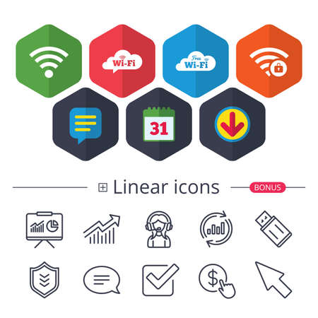 Illustration pour Calendar, Speech bubble and Download signs. Free Wifi Wireless Network cloud speech bubble icons. Wi-fi zone locked symbols. Password protected Wi-fi sign. Chat, Report graph line icons. Vector - image libre de droit