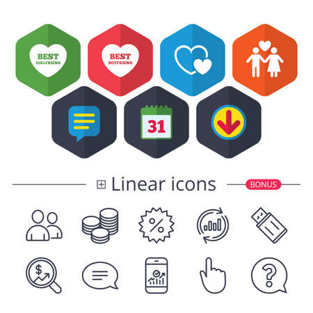 Illustration pour Calendar, Speech bubble and Download signs. Valentine day love icons. Best girlfriend and boyfriend symbol. Couple lovers sign. Chat, Report graph line icons. More linear signs. Editable stroke - image libre de droit