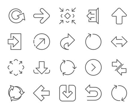 Illustration for Linear Arrow icons. Set of Download, Synchronize and Recycle signs. Undo, Refresh and Login symbols. Sign out, Next and Upload. Universal Arrow elements. Quality design elements. Editable stroke - Royalty Free Image