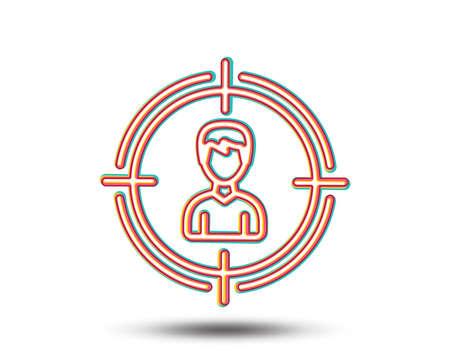 Illustration pour Head hunting line icon. Business target or Employment sign. Colourful graphic design. Vector - image libre de droit