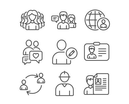 Ilustración de Set of Women group, Identification card and International recruitment icons. People talking, Dating chat and User communication signs. Engineer, Edit user and Job interview symbols. Vector - Imagen libre de derechos