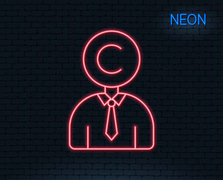 Illustration pour Neon light. Ð¡opyrighter line icon. Writer person sign. Copywriting symbol. Glowing graphic design. Brick wall. Vector - image libre de droit