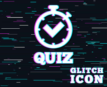 Illustration pour Glitch effect. Quiz timer sign icon. Questions and answers game symbol. Background with colored lines. Vector illustration. - image libre de droit