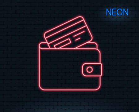 Ilustración de Neon light. Wallet with Credit card line icon. Cash money sign. Payment method symbol. Glowing graphic design. Brick wall. - Imagen libre de derechos