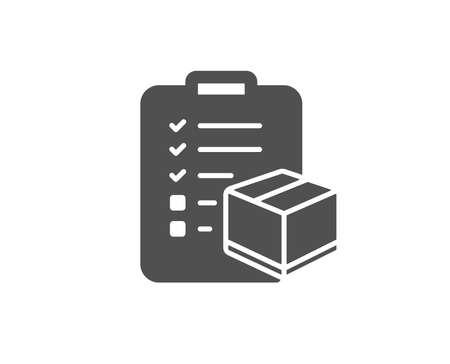Ilustración de Parcel checklist simple icon. Logistics check sign. Package control symbol. Quality design elements. Classic style. - Imagen libre de derechos
