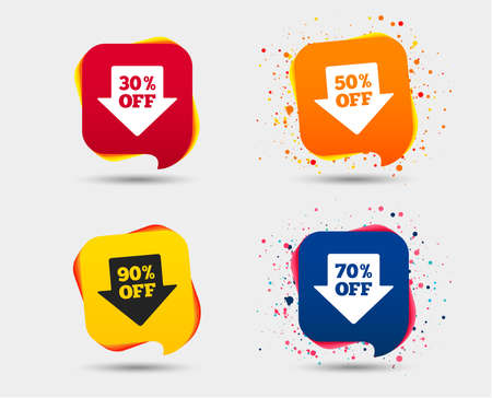 Illustration for Sale arrow tag icons. Discount special offer symbols. 30%, 50%, 70% and 90% percent off signs. Speech bubbles or chat symbols. Colored elements. Vector - Royalty Free Image