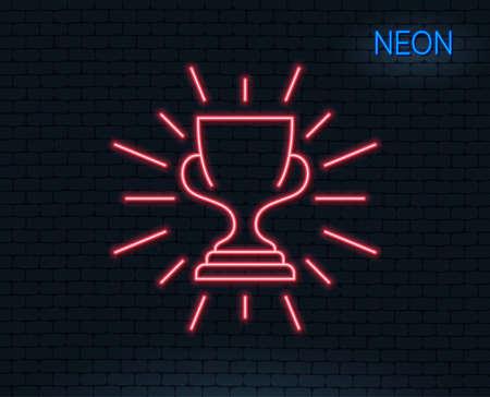 Ilustración de Neon light. Award cup line icon. Winner Trophy symbol. Sports achievement sign. Glowing graphic design. Brick wall. Vector - Imagen libre de derechos