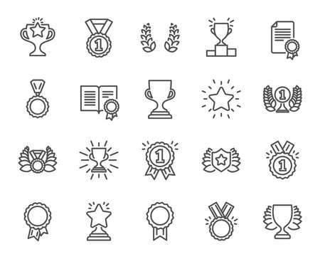 Illustration pour Awards line icons. Set of Winner medal, Victory cup and Laurel wreath signs. Reward, Certificate and Diploma message symbols. Glory shield, Prize and Rank star. Quality design elements. - image libre de droit