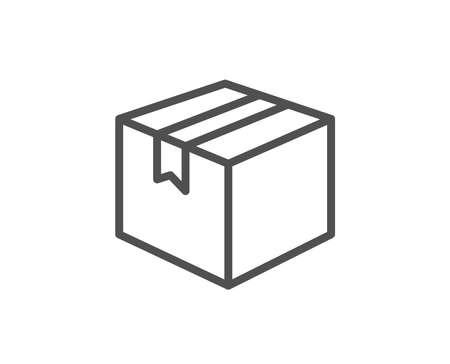 Illustration pour Shipping box line icon. Logistics delivery sign. Parcels tracking symbol. Quality design element. Editable stroke. - image libre de droit