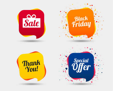 Illustration pour Sale icons. Special offer and thank you symbols. Gift box sign. Speech bubbles or chat symbols. Colored elements. Vector - image libre de droit