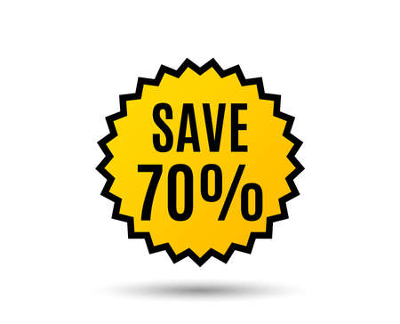 Ilustración de Save 70% off sign Vector - Imagen libre de derechos