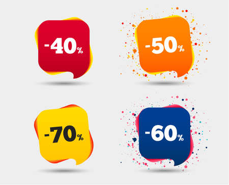Ilustración de Sale discount icons. Special offer price signs. 40, 50, 60 and 70 percent off reduction symbols. Speech bubbles or chat symbols. Colored elements. Vector - Imagen libre de derechos
