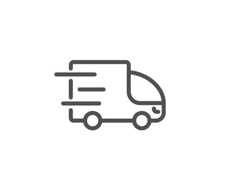 Illustration pour Truck delivery line icon. Express service sign. Transportation symbol. Quality design element. Editable stroke. Vector illustration. - image libre de droit