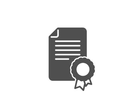 Illustration for Certificate medal simple icon. Diploma achievement symbol. Document with approved badge sign. Quality design elements. Classic style. Vector illustration. - Royalty Free Image
