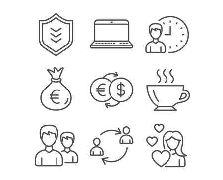 Illustration pour Set of Money exchange, Working hours and Notebook icons. User communication, Couple and Shield signs. Money bag, Coffee and Love symbols. Eur to usd, Project deadline, Laptop computer. Vector - image libre de droit