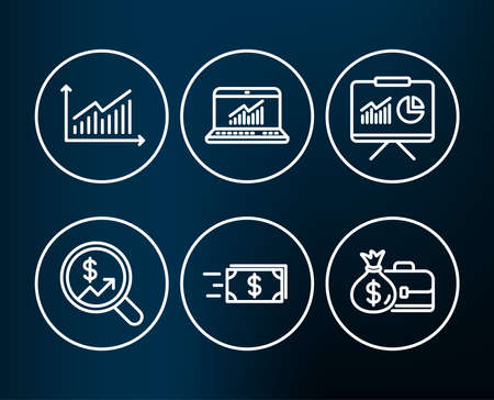 Illustration pour Set of Money transfer, Presentation and Graph icons. Online statistics, Currency audit and Salary signs. Cash delivery, Board with charts, Presentation diagram. Computer data, Money chart. Vector. - image libre de droit