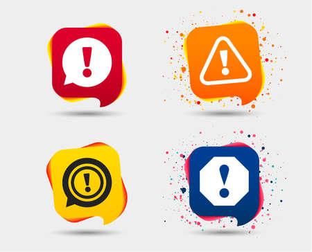 Ilustración de Attention icons Exclamation speech bubble symbols. - Imagen libre de derechos