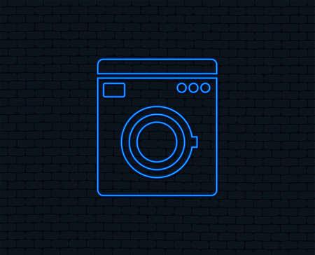 Ilustración de Neon light. Washing machine icon. Home appliances symbol. Glowing graphic design. Brick wall. Vector illustration. - Imagen libre de derechos