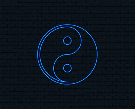 Ilustración de Neon light. Yin yang sign icon. Harmony and balance symbol. Glowing graphic design. Brick wall. Vector illustration. - Imagen libre de derechos