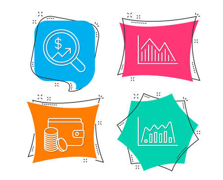 Ilustración de Set of currency audit, payment method and investment graph icons. Info-graphic graph sign. Money chart, wallet with coins, investment info-chart. Line diagram. Flat geometric colored tags. Vector illustration. - Imagen libre de derechos