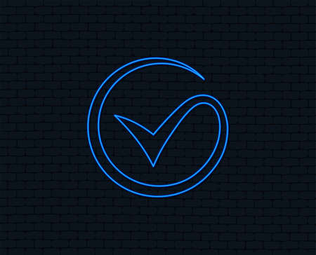 Illustration pour Neon light. Tick sign icon. Check mark symbol. Glowing graphic design. Brick wall. Vector - image libre de droit